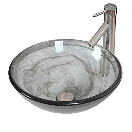 Merveilleux ELITE Bathroom Black Swirl Double Layer Glass Vessel Sink U0026 Brushed Nickel  Faucet Combo