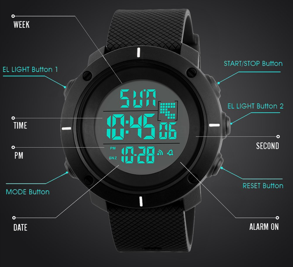 Boys Digital Watch -Kids Sports Waterproof Outdoor Watch with Alarm Stopwatch Wrist Watches for Childrens by SEEWTA (Image #3)