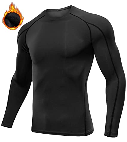 7bb58f6ab Lavento Men s Compression Shirts Baselayer Fleeced Long-Sleeve Dry Fit T- Shirts (1