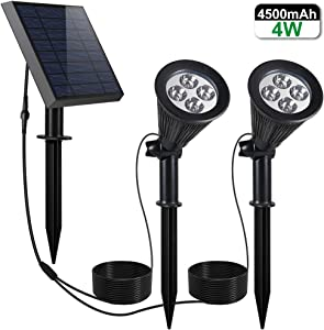 YINGHAO Solar Spot Lights with Separated Upgrade Solar Panel, IP65 Waterproof, Solar-Powered LED Landscape Spotlights, 2-in-1 Installation, for Garden Yard Flag Pole Tree Wall Ground, White, 2 Lights