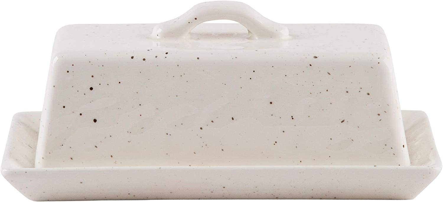 White Ceramic Speckled Covered Butter Dish, 7""