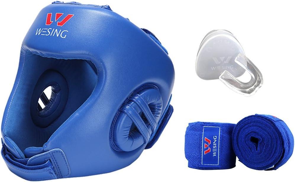 Wesing AibaのヘッドギアHandwrapsと歯ガード ブルー Small