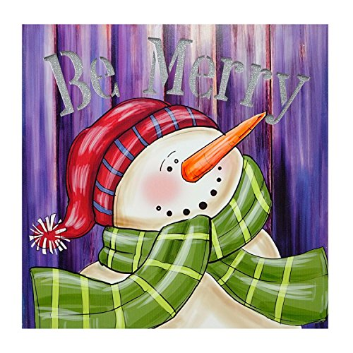 Northlight LED Lighted Be Merry Smiling Snowman Christmas Canvas Wall Art 11.75