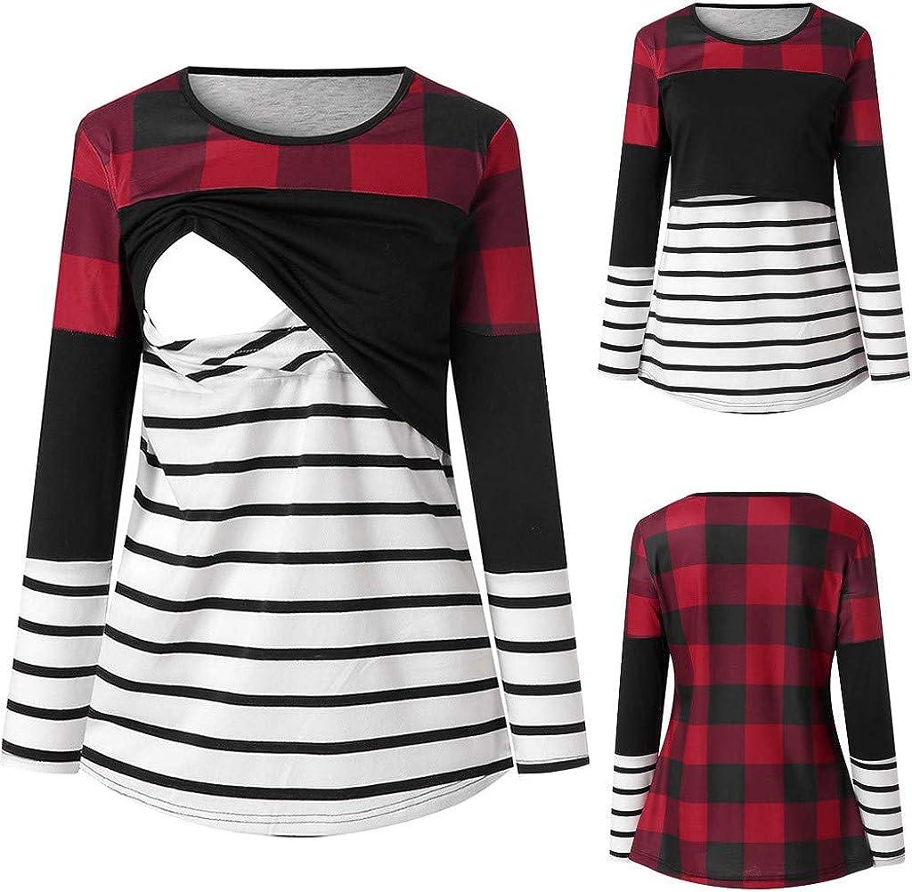 Mujer Camiseta Premam/á Lactancia De Manga Larga Cuello Pico Premam/á Camisa Maternidad Ropa Tops de Amamantar
