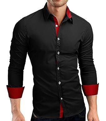 Amazon.com: CUSON Men Casual Dress Shirt Cotton Slim Fit Long ...