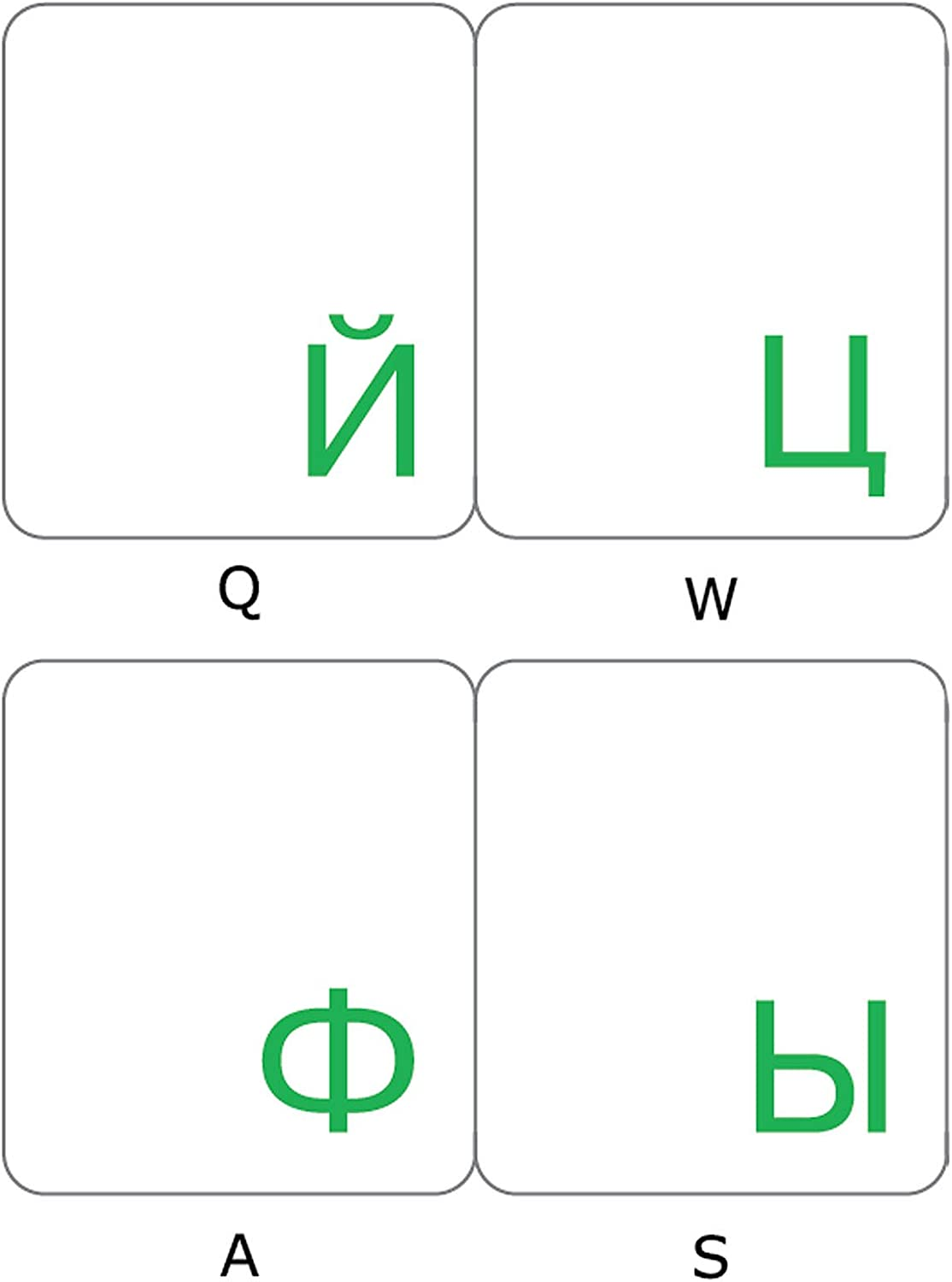 Russian Keyboard Stickers with Transparent Background with Green Lettering for Computer LAPTOPS Desktop