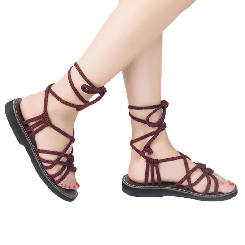 vermers Hot Sale Women Cross Strap Sandals - Summer Roman Style Flat Sandals - Fashion Beach Shoes Slippers(US:7.5, Wine) by vermers