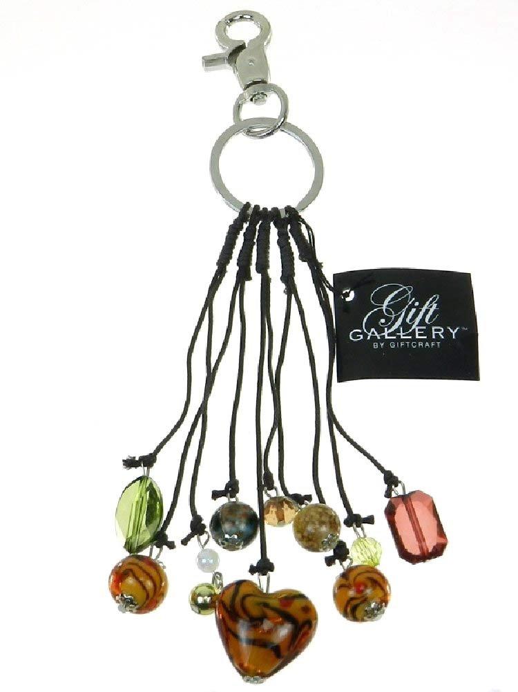 Glass Heart Purse Charm and Key Chain - Amber