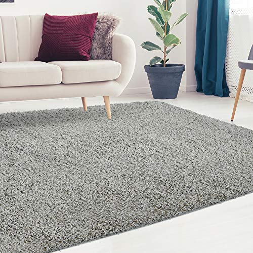 - iCustomRug Cozy and Soft Solid Shag Rug 8X10 Grey Ideal to Enhance Your Living Room and Bedroom Decor