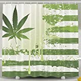 BINGO FLAG Funny Fabric Shower Curtain Green Leaves Flag Waterproof Bathroom Decor With Hooks 60 X 72 Inch