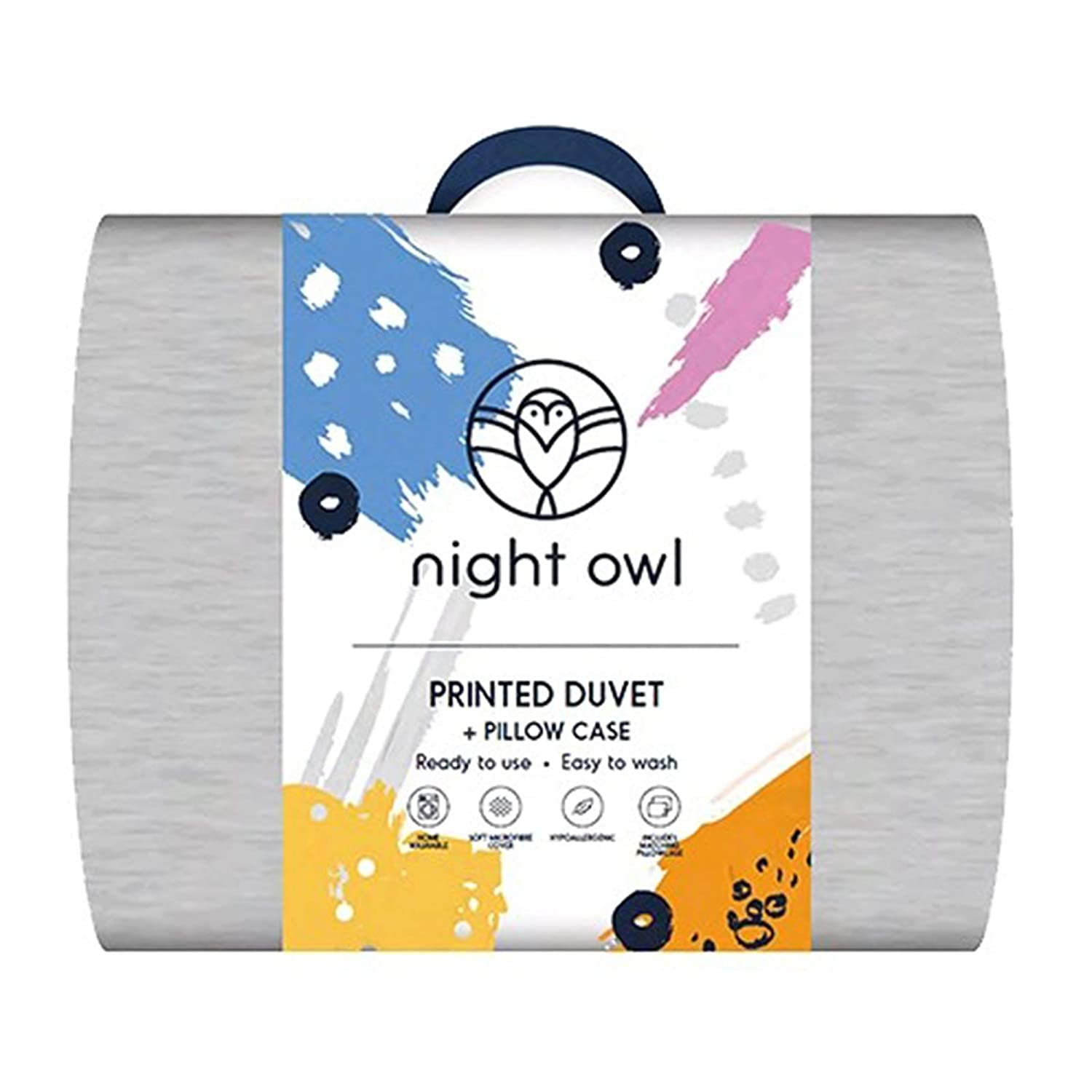 Contemporary Printed Design Washable Clever Sleep Technology Night Owl Duvet 10.5 Tog Quilts and Pillowcase Set, Dark Grey - Single Size HLS - Night Owl