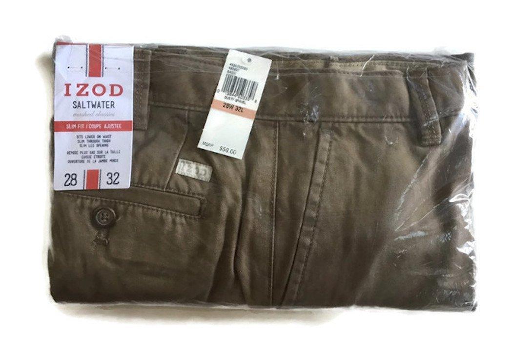 IZOD Men's Saltwater Flat Front Slim Fit Chino Pant (28W x 30L, Dusty Gravel)