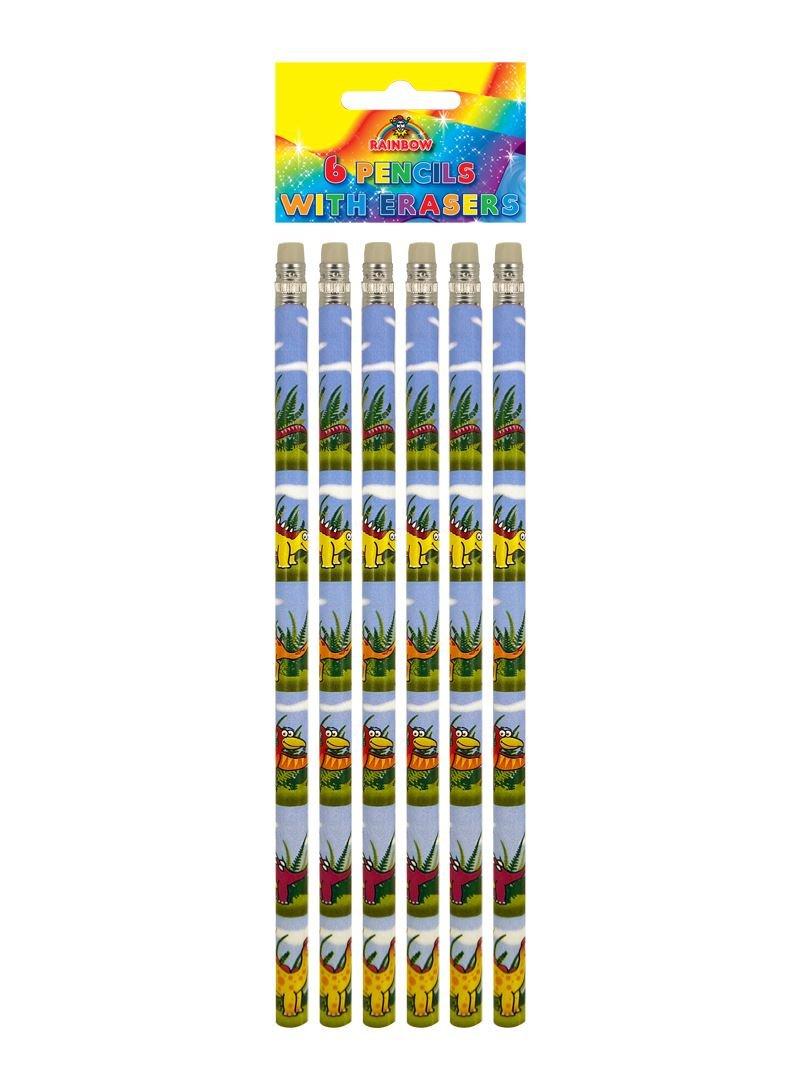 6 crayons de dinosaure avec gomme (Dinosaur pencils) Henbrandt S51 079