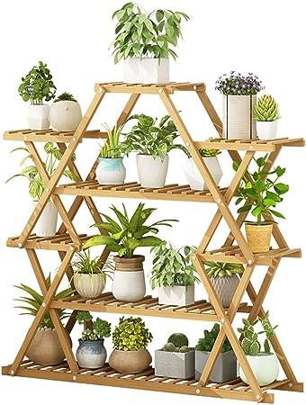 IDWOI Soporte Macetas Soporte para Flores De Bambú Interior Exterior Simetría Escalera para Flores con 6 Niveles: Amazon.es: Hogar