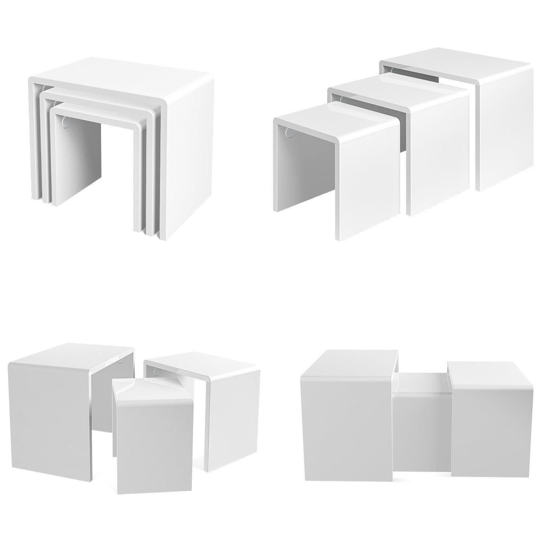 in Legno Birtech Set di 3 tavolini impilabili Multifunzione per Soggiorno Colore: Bianco Bianco