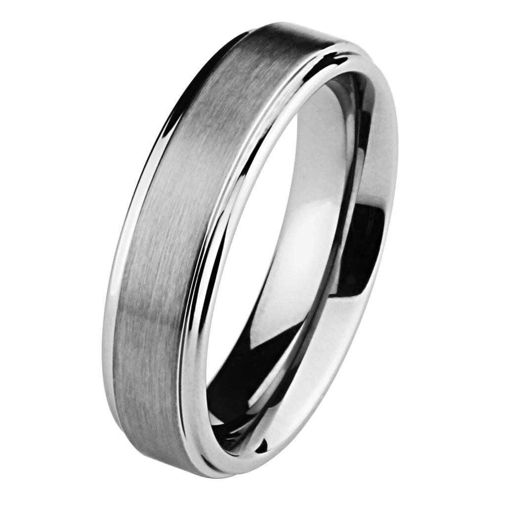 6MM Wellingsale LUXE Series Comfort Fit Wedding Band Ring with Raised Center and Smooth Rounded Edges in Brushed and Polished Finish for Men and Women - Size 8.5