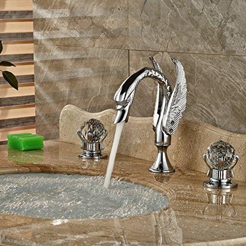 GOWE Polished Chrome Widespread Swan Basin Sink Faucet Deck Mount Dual Handles Mixer Taps 4