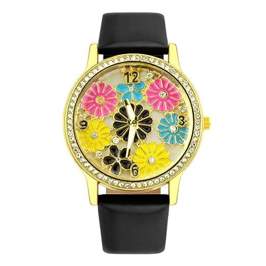 POJIETT Marcas de Relojes para Mujer Chicas Reloj de Cuarzo Analogico Relojes Especiales Reloj Pulsera Correa Cuero Reloj Rosas Rojo Mujer Joyas Regalos: ...