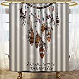 PRUNUSHOME Native American Southwest Decor Shower Curtain Never Stop Dreaming Feathers and Colorful Beads for Good Luck Polyester Fabric Bathroom Decor Set with Hooks Beige and Brown/W66 x L72
