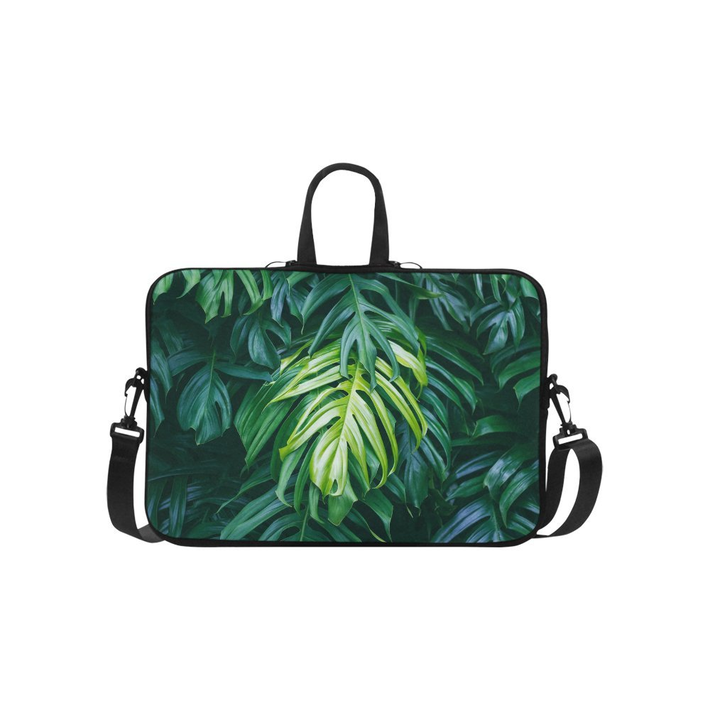 InterestPrint Tropical Green Palm Leaves Summer Forest Plant Laptop Sleeve Shoulder Bag with Handle & Strap, Notebook Computer Carrying Bag 15 15.6 Inch for Macbook Dell HP Acer Woman Man