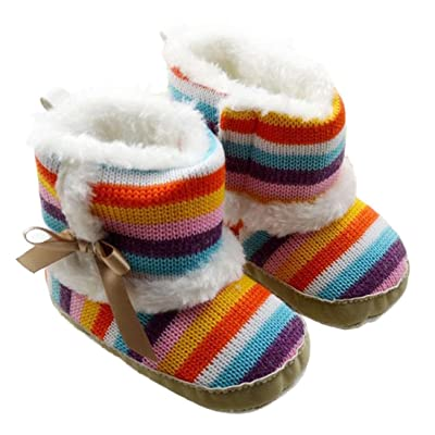 Amiley Toddler Baby Girls Rainbow Snow Boots Soft Crib Shoes Toddler Boots