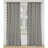LJ Home Fashions Linked Geometric Linen Grommet Curtain Panels (Set of 2), 52x95-in, Ivory/Black/Grey