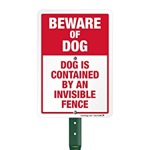 SmartSign Beware of Dog Sign, Dog Contained by an Invisible Fence Sign for Yard, Lawn, Home Security Signs, 21 Inches Bend-Proof Stake & Metal Sign Kit, 10x7 Inches Aluminum Sign