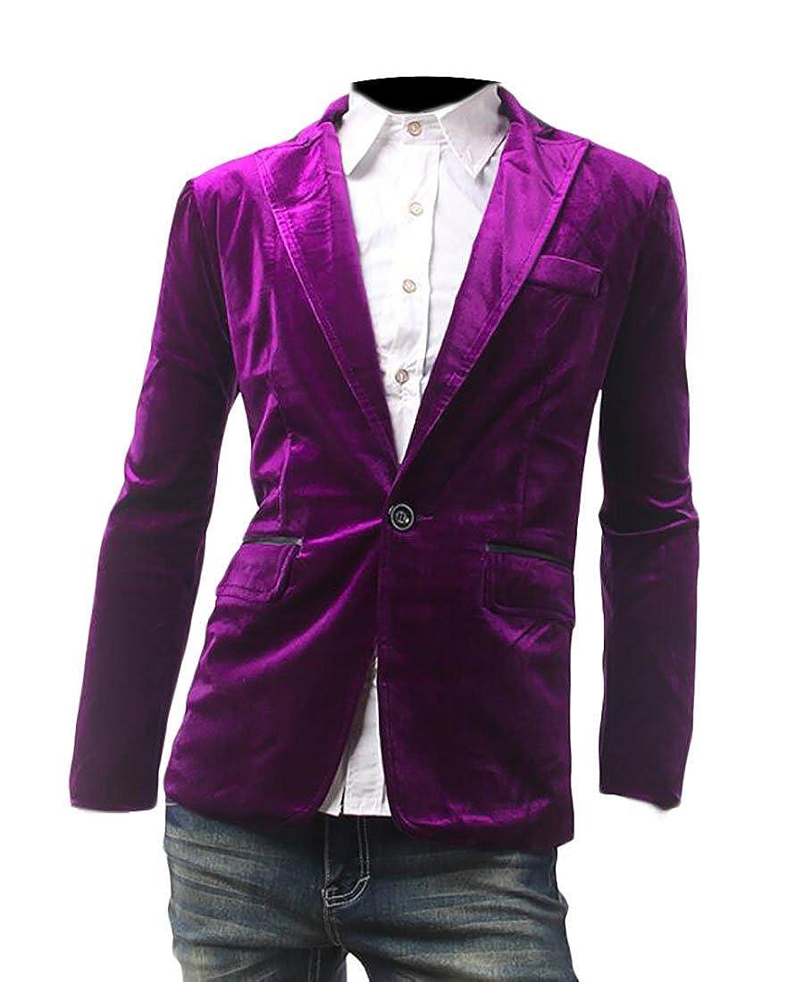 3072edb1d37 Purple BLTR-Men Long Sleeve Velvet Slim Slim Slim Fit Blazer Coat c2a242
