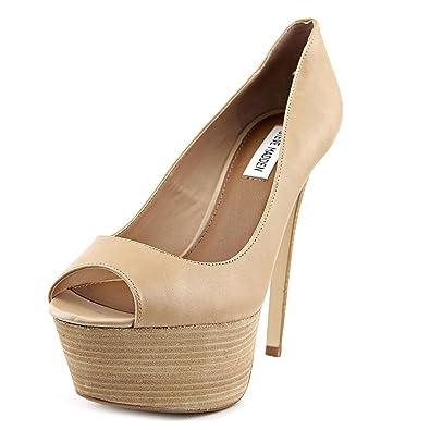 a001afc7955 Steve Madden Langston Peep Toe Leather Platforms Shoes Beige Size  7 ...