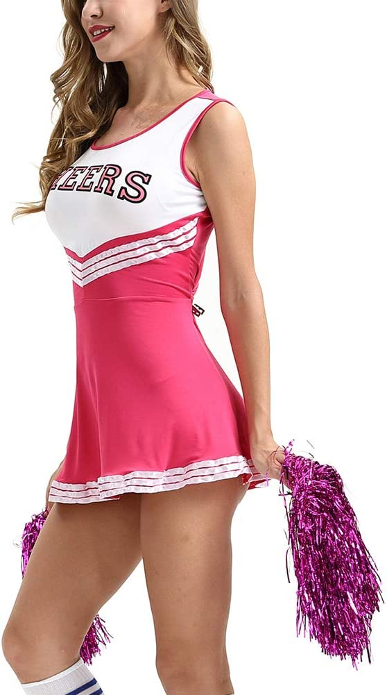 Cheerleader con Pompon Ragazza Donna Vestito Operato da Divisa Musicale Scolastica Uniforme uirend Sport Cheerleading Costumi Adulti