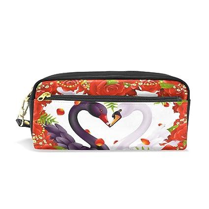 Ahomy - Estuche para lápices, diseño de rosas y cisne con corazón ...