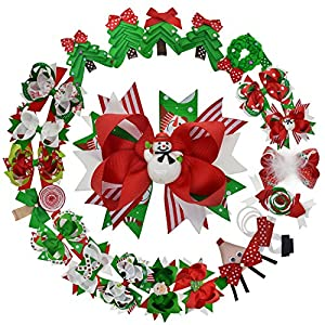LCLHB Christmas Grosgrain Ribbon Bows/Clips For Toddlers Baby Girls Teens Kids