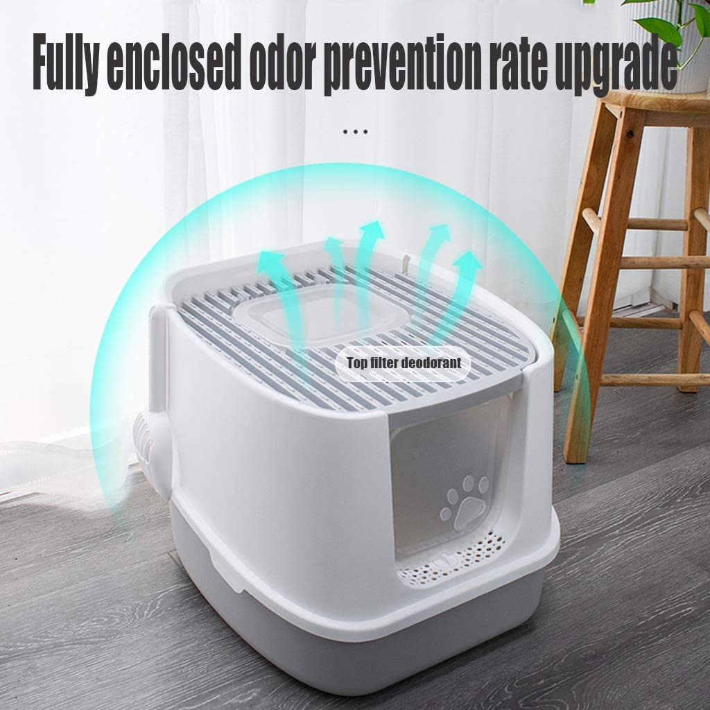 Fully Enclosed Splash-Proof cat Toilet Bottom Entry and top exit Closed Odor-Resistant cat Litter Box Cats Hooded Litter Box System