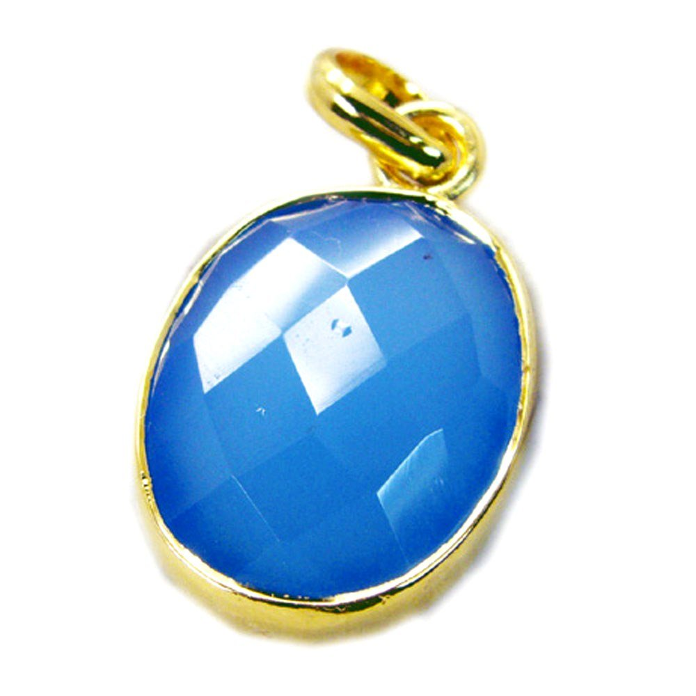 Jewelryonclick Genuine Blue Chalcedony Gold Plated Pendant Charm Necklace Handmade Jewelry Gift for Women