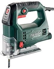 Metabo 601030500 Stichsäge STEB 65 QUICK | + Blatt Holz, Sägeblatt Metall, Schlüssel, Koffer | Softgrip Oberfläche / Vario Elektronik / Späneblasfunktion (450 W | Schwenkbereich - 45 / + 45 °)