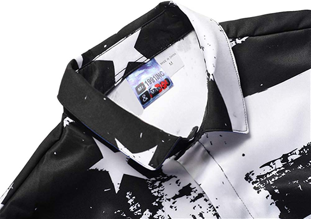 TenMet Large Black and White Stars and Stripes Printed Button Down Dress Shirts
