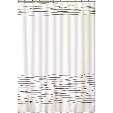 BUZIO Line Pattern Shower Curtain with 12 Curtain Hooks for Bathroom, Mildew Resistant, Anti-Bacterial and Waterproof, 72 x 72 Inches, White