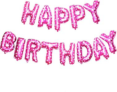 لافتة بالونات Happy Birthday (وردي) Mylar Foil Letters | زينة حفلات قابلة للنفخ ومناسبة للأطفال والكبار (13قطع)