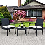 Eight24hours 3 PS Outdoor Rattan Patio Furniture Set Backyard Garden Furniture Seat Cushioned