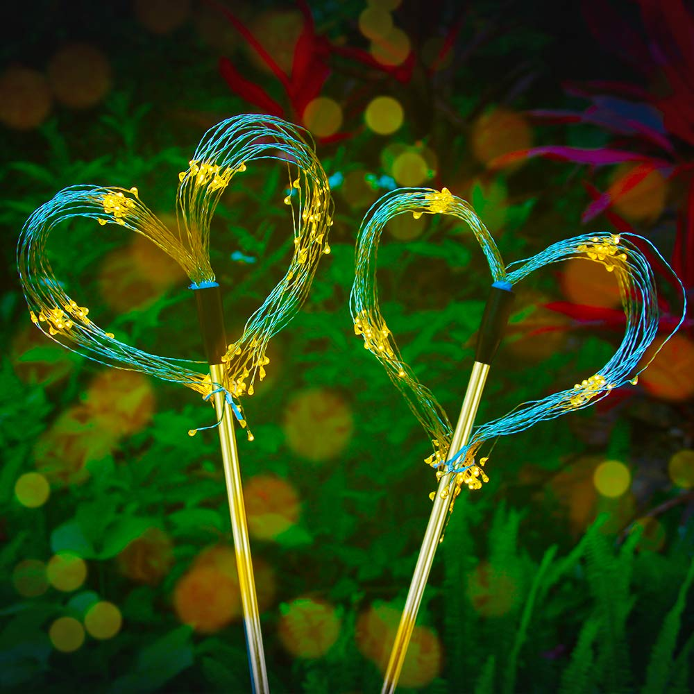 Outdoor Solar Garden Decorative Lights Multi -Color 105 LED Powered 35 Copper Wires String Landscape Light-DIY Flowers Fireworks Trees for Walkway Patio Lawn Backyard,Party Decor 2 Pack