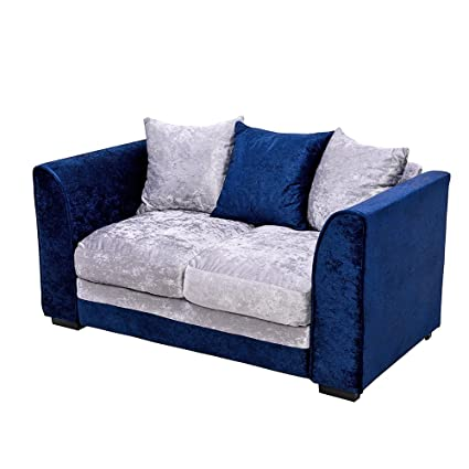 Pananastore 2 Seater Crushed Velvet Sofa H83 X W150 X D82cm 3 Seat Cushions 3 Backrest Pillows Recliner Home Bedroom Sofa Settee Royal Blue Grey