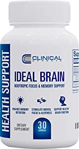 Clinical Effects: Ideal Brain - Dietary Supplement for Nootropic Focus and Memory Support - 30 Capsules - B Vitamins, GABA, Alpha-GPC - Helps Support Memory, Mental Focus, and Healthy Brain Function