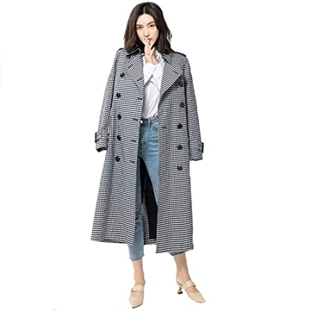 95c9fc5c422 GAOJUAN 2018 And Winter Women s Trench Coat Casual Double Breasted Long  Plaid Peter Pan Collar Long Sleeve Tie Belted Cardigan Jacket Loose Plus  Size Slim ...
