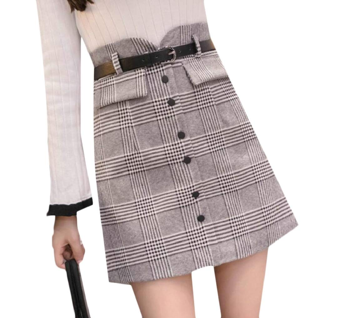 9d2481b40907 XQS Women's High Waist Plaid Check Slim A-line Pencil Mini Skirt with Belt  at Amazon Women's Clothing store:
