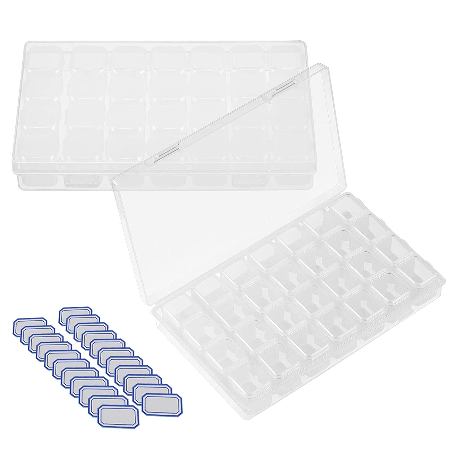 SEELOK 2 Pack 28 Grids Plastic Storage Boxes Diamond Painting Nail Accessory Box Organizer Storage Container for DIY Art Craft. SZYGS 4336939874