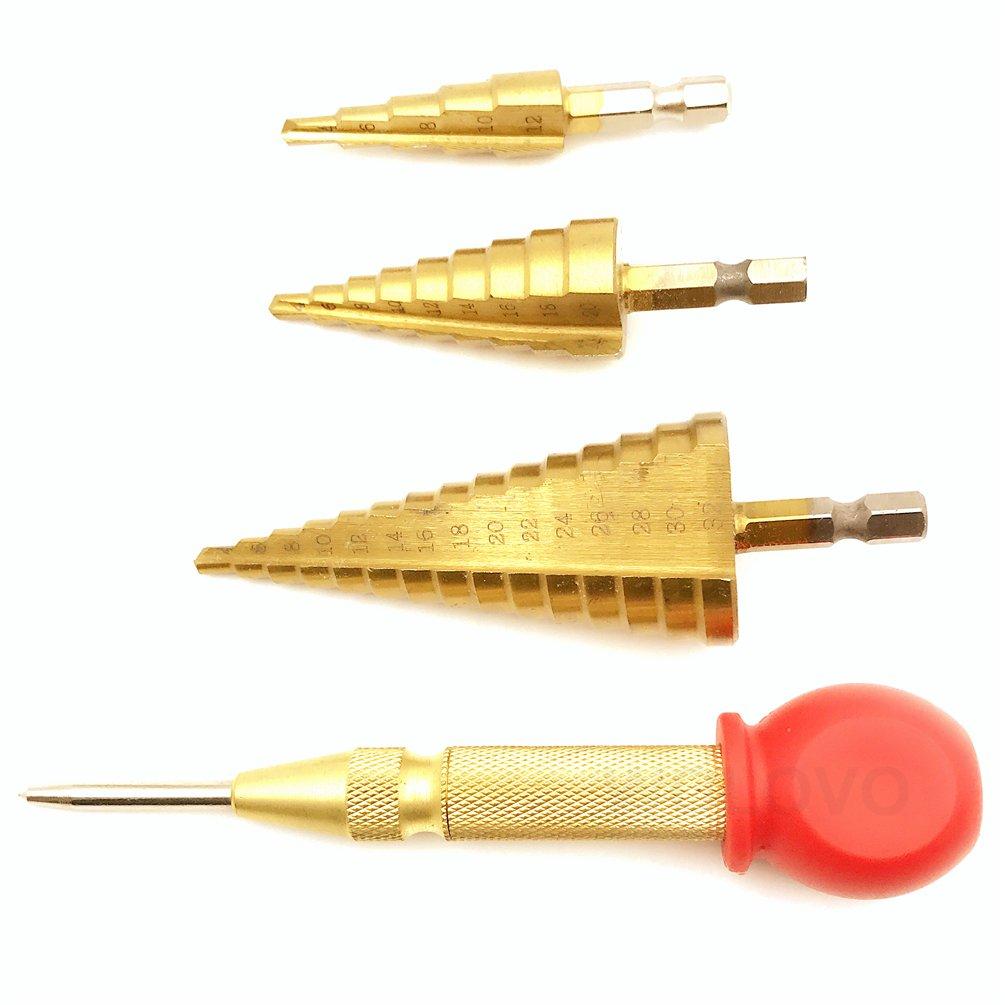 de di/ámetro 4 /– 12 mm, 4 /– 20 mm y 4 /– 32 mm Broca escalonada perforaci/ón de precisi/ón con revestimiento de titanio y perforaci/ón central autom/ática 3 piezas de brocas de acero de alta velocidad