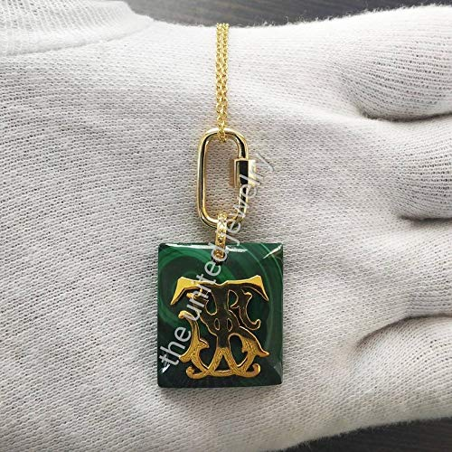 Malachite Gemstone Monogram with 20mm Carabiner Lock Sterling Silver Lock Necklace Jewelry Supplier And Wholesaler