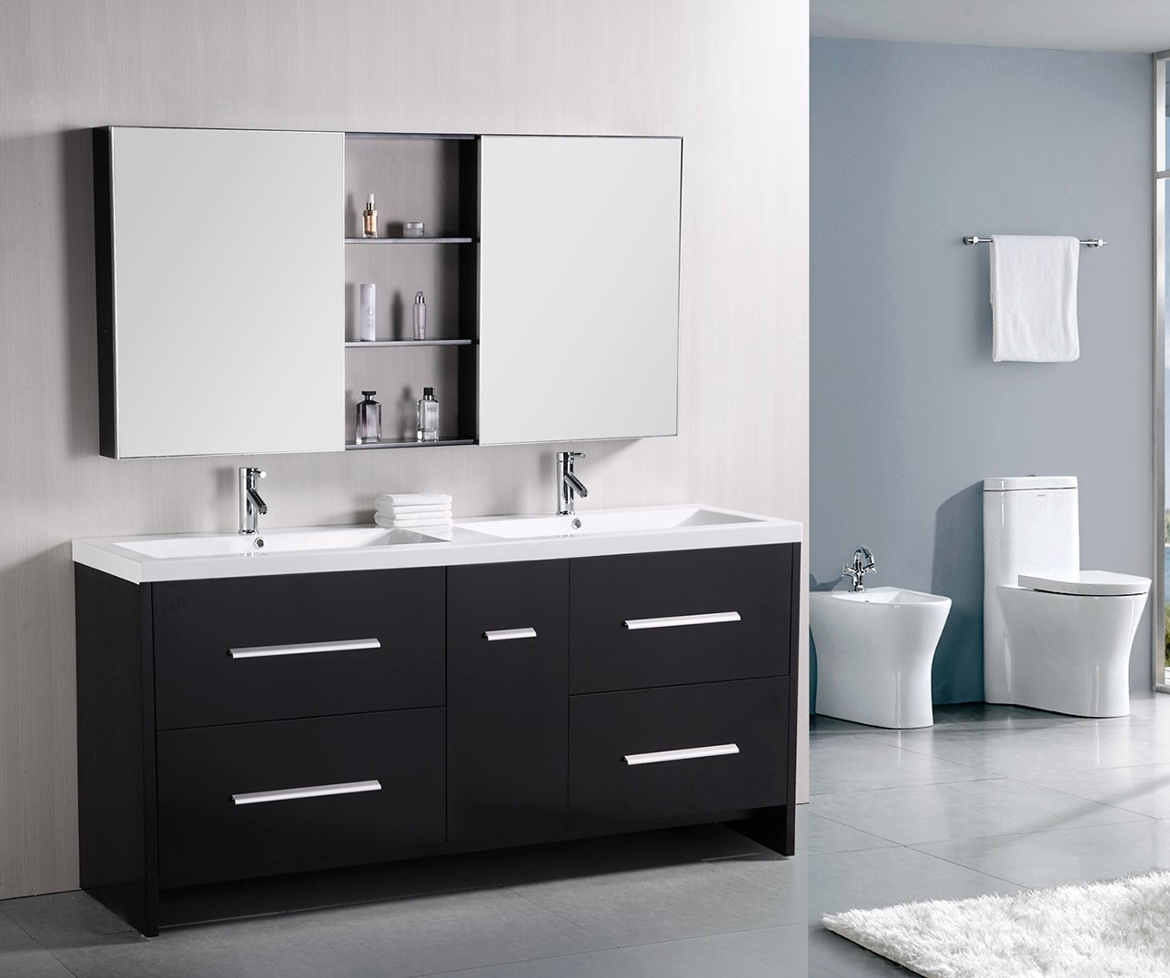 bathroom cabinets double sink. Design Element Perfecta Double Integrated White Acrylic Drop-in Sink Vanity Set, 72-Inch - Bathroom Vanities Amazon.com Cabinets N