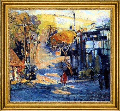 "Art Oyster Joseph Kleitsch Park Avenue- Old Laguna - 16.05"" x 16.05"" Premium Canvas Print with Gold Frame"