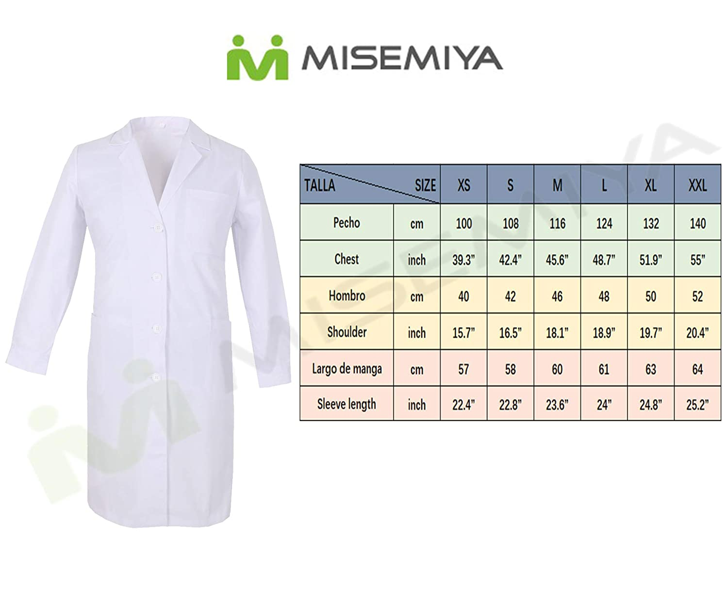 Set of 2 MISEMIYA Work Clothes Lady Short Sleeves Uniform Medical Uniforms Scrub Top Ref.707